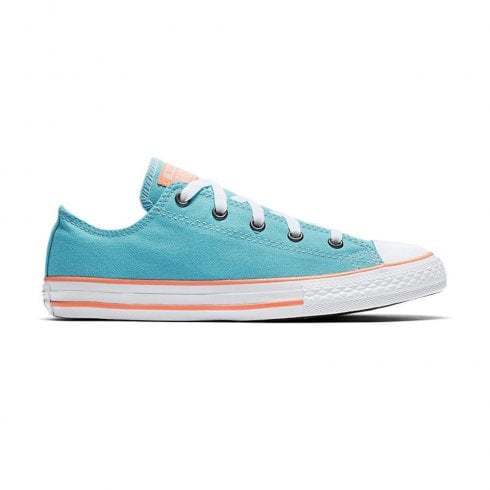 7157af2964d Converse Kids Junior Chuck Taylor All Star Kids Low Top Trainers - Bleached  Aqua