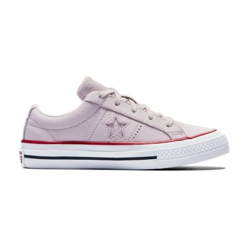 101cbd3a1e21 Converse Kids Junior One Star Leather New Heritage Girls Trainers - Pale  Pink