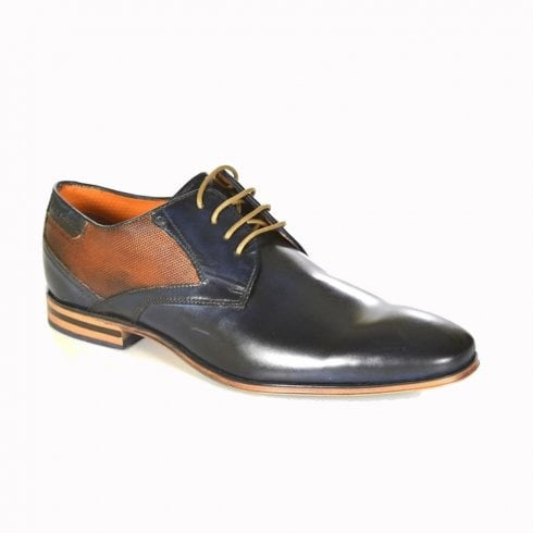 Bugatti Mens Smart Tan/Blue Leather Lace Up Shoe 311-25207
