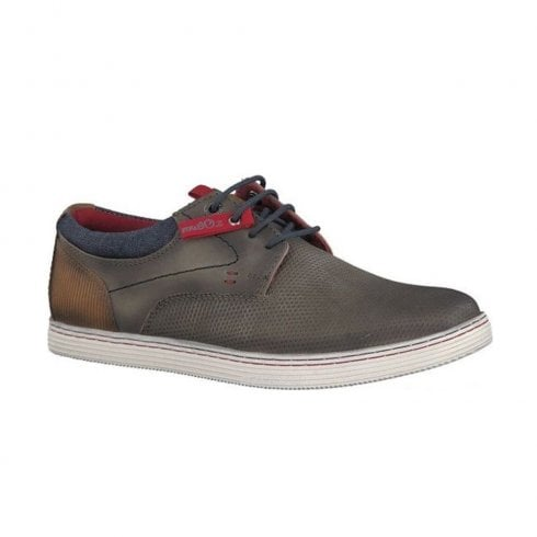 S.Oliver Mens Leather Classic Lace-up Shoes - Stone Grey