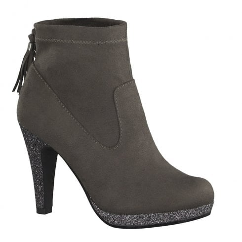 Marco Tozzi Womens Heeled Ankle Boots - Grey