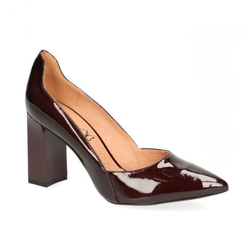 Caprice Burgundy Patent Leather Court Heels