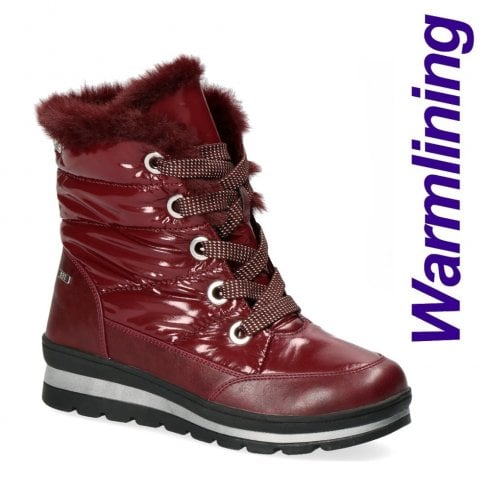Caprice Womens Burgundy Lace Up Flat Snow Boots