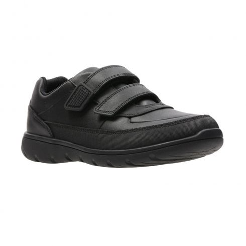 Clarks Venture Walk Black Leather Velcro School Shoes (F Width)