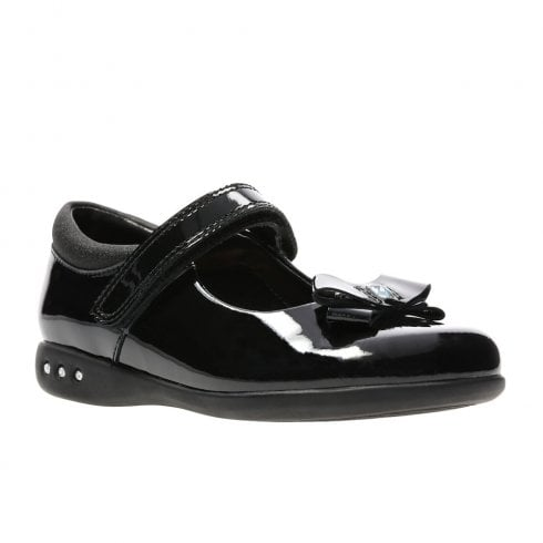 Clarks Prime Skip Black Patent Leather Girls Velcro Strap School Shoes (F) - 26138752