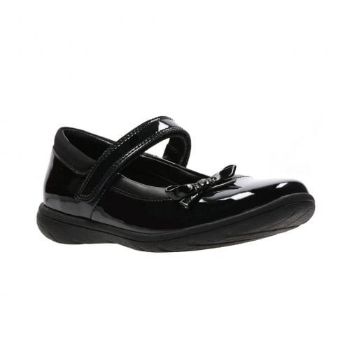 Clarks Venture Star Junior Black Patent Girls Velcro Strap School Shoes (H) - 26134915