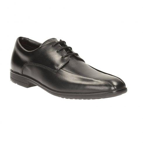 Clarks Willis Lad BL Black Leather Boys School Shoes (G Width)