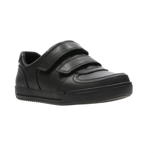 Clarks Mini Racer Black Leather Kids School Shoes (F) - 26134705