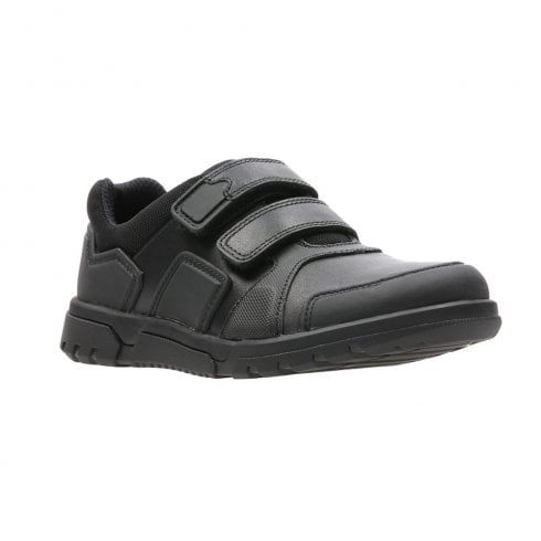 Clarks Junior Blake Street Black Leather Boys Velcro School Shoes (G) - 26135744