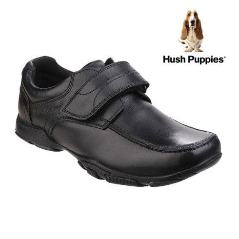 Hush Puppies Boys Freddy 2 Black Leather Velcro School Shoe