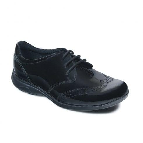 Term Summer Patent Lace Up Girls School Shoe - Black