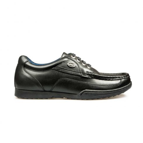 POD Boys Panter Lace Up Back to School Leather Shoes - Black