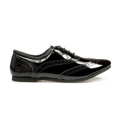 POD Girls Tatum Brogue Shoes - Black Patent
