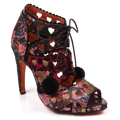 Irregular Tease High Heeled Strappy Sandals - Pink Multi