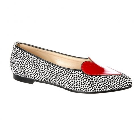Nicola Sexton Black and White Slip On Flats with Red Heart