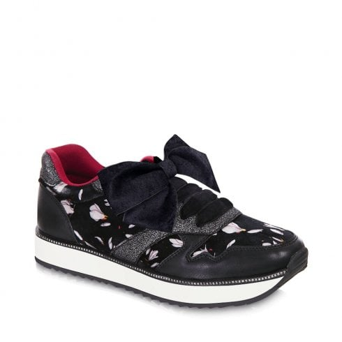 Ruby Shoo Suzie Womens Ribbon Velvet Laces Trainers - Black