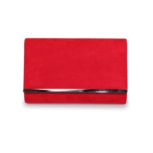 Lunar Jayla Faux Suede Clutch Bag - Red