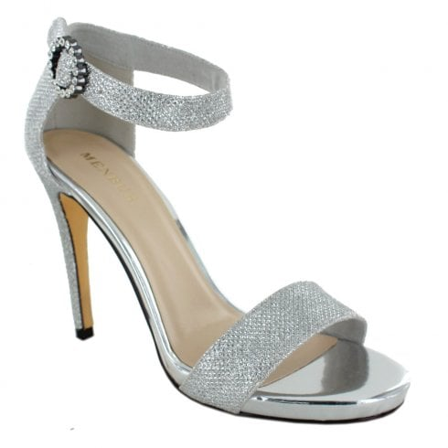 Menbur Schine Ankle Strapp Stiletto Sandals - Silver Grey