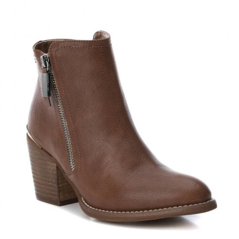b396c86d01eb XTI Womens Block Heeled Cowboy Style Ankle Boots - Camel   Millars Shoe  Store