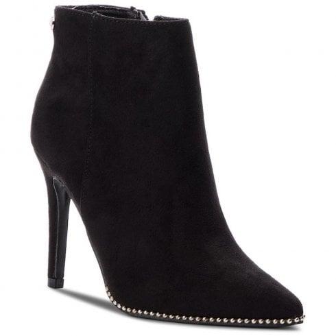 6766ea8d9c6e XTI Womens Suede Decorative Edges Stiletto Ankle Boots - Black   Millars  Shoe Store