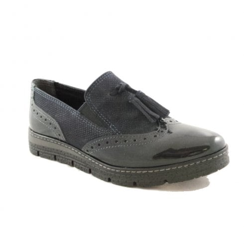 Marco Tozzi Brogue Style Slip-On Flat Navy Loafers 2-24719