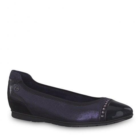 f6c8b469839a Tamaris Joya Navy Ballerina Pumps 22103-21   Millars Shoe Store