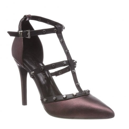 Tamaris Ivonne Burgundy High Heeled Strappy Pointed Court Shoes