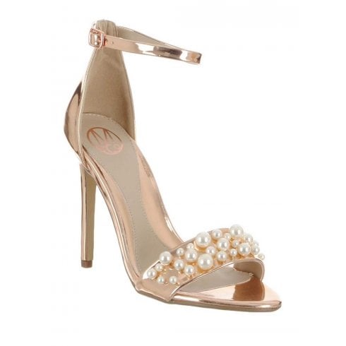 214db7160a Millie & Co Stacie Heeled Sandal Rose Gold - Millars Shoe Store