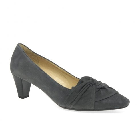 Gabor Tricky Ladies Modern Knotted Bow Court Shoes - Grey