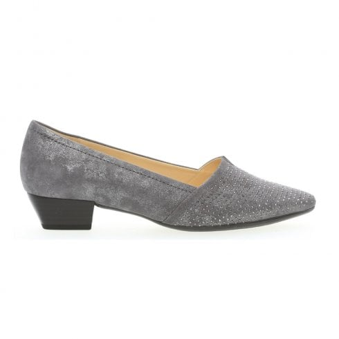 Gabor Tilly Low Heel Court Shoes - Grey Metallic