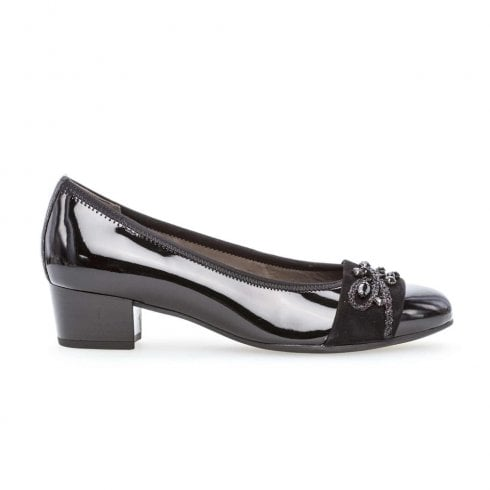 Gabor Ladies Patent Ballerina Low Heel Shoes - Black Patent