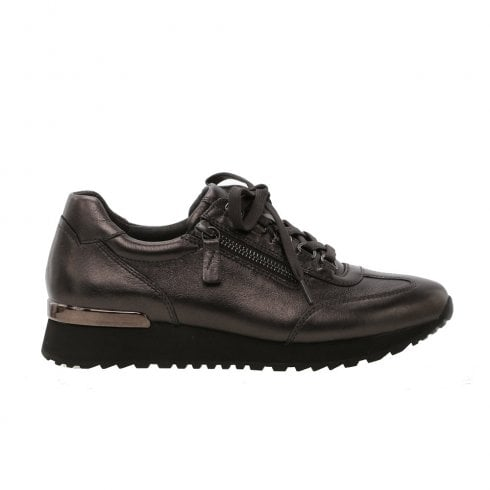 Gabor Ladies Mix Leather Lace Up Sneakers - Dark Grey Metallic