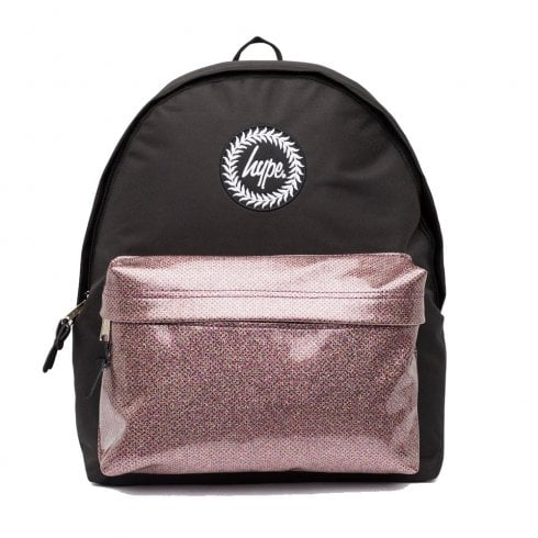 ac6b0dd40bdc Hype Glitter Black Pink Pocket Backpack - Hype Backpacks - Millars Shoe  Store