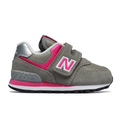 New Balance Infant 574 Core Velcro Sneakers - Pink/Grey