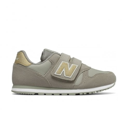 size 40 fb29d 5a41a New Balance Girls 373 Velcro Sneakers - Beige/Gold