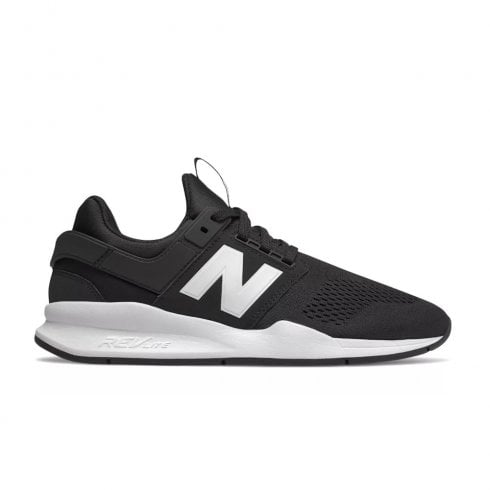 New Balance Mens 247 Mesh Lace Up Sneakers - Black