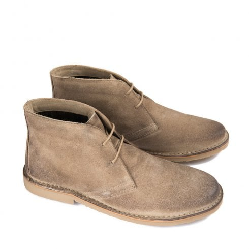 Ikon Canyon Men's Suede Lace Up Desert Boots - Taupe