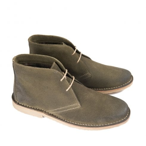 Ikon Canyon Men's Suede Lace Up Desert Boots - Khaki