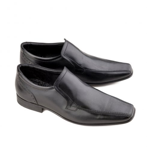 Ikon Saxon Men's Leather Slip On Dress Shoes - Black
