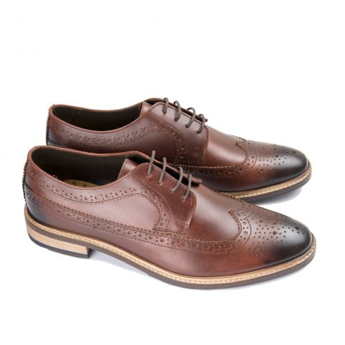 Ikon Russell Mens Leather Lace Up Derby Brogues Shoes - Brown
