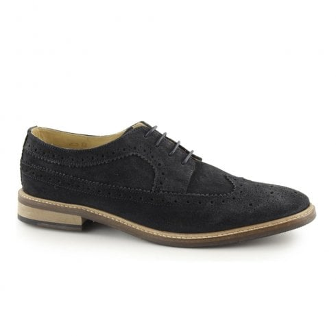 Ikon Russell Mens Leather Lace Up Derby Brogues Shoes - Navy