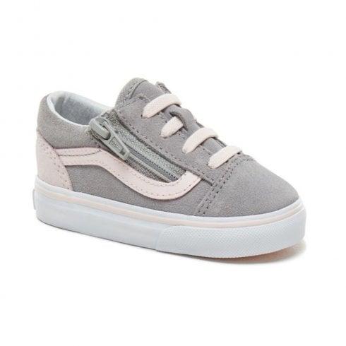 fc968650b878 Vans Kids Toddler Suede Old Skool Zip Shoes - Grey Pink   Millars Shoe Store