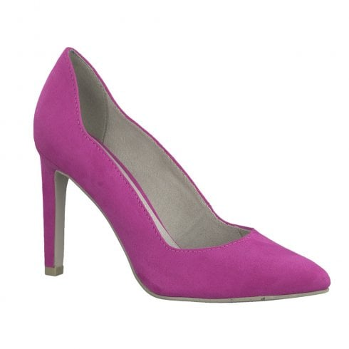 Marco Tozzi Womens High Heeled Pointed Elegant Court Shoes - Pink Fuxia