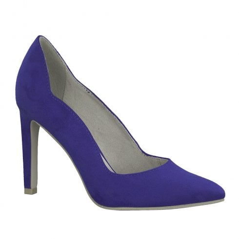 Marco Tozzi Womens High Heeled Pointed Elegant Court Shoes - Royal Blue