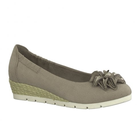 Marco Tozzi Womens Low Wedge Pumps Shoes - Taupe
