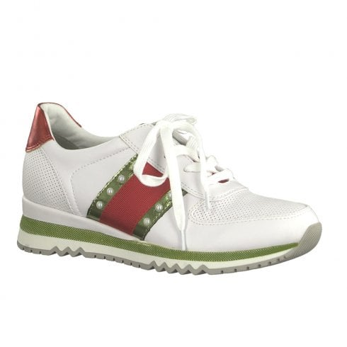 Marco Tozzi Womens Lace Up Pearls Details Trainers Shoes - White Red Green