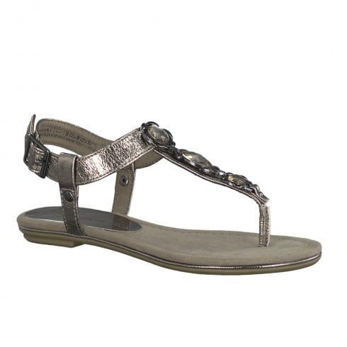 Marco Tozzi Womens Bohemia Style Ladies Flat Flip Flops Sandals - Pewter
