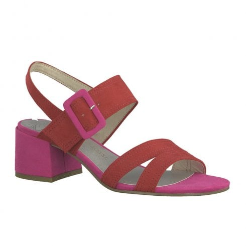Heeled Marco Red Tozzi Sandals Womens Pink Store Block Millars Shoe 5A4LRj