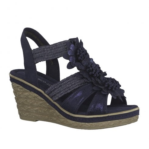 Marco Tozzi Womens Wedge High Heeled Sandals - Navy Metallic