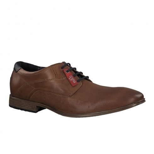 S.Oliver Mens Leather Laced Shoes - Cognac